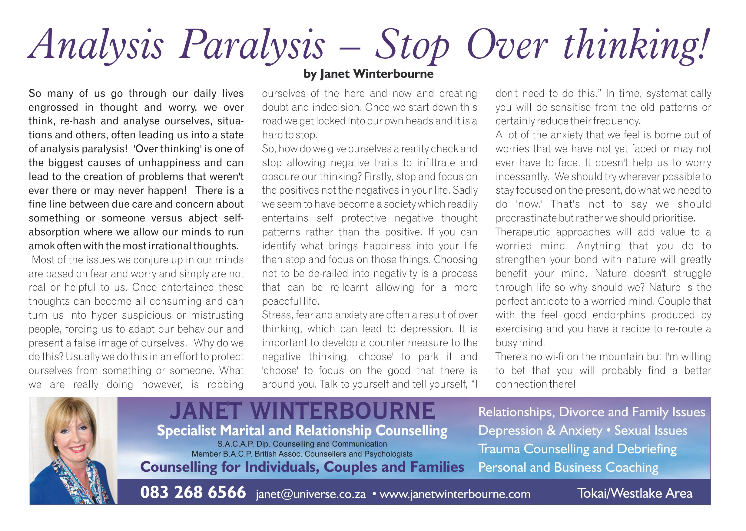 Analysis Paralysis - Stop Over thinking | Psychologist Cape Town