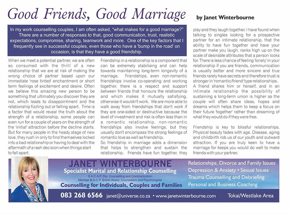 Good Friends, Good Marriage   Psychologist Cape Town