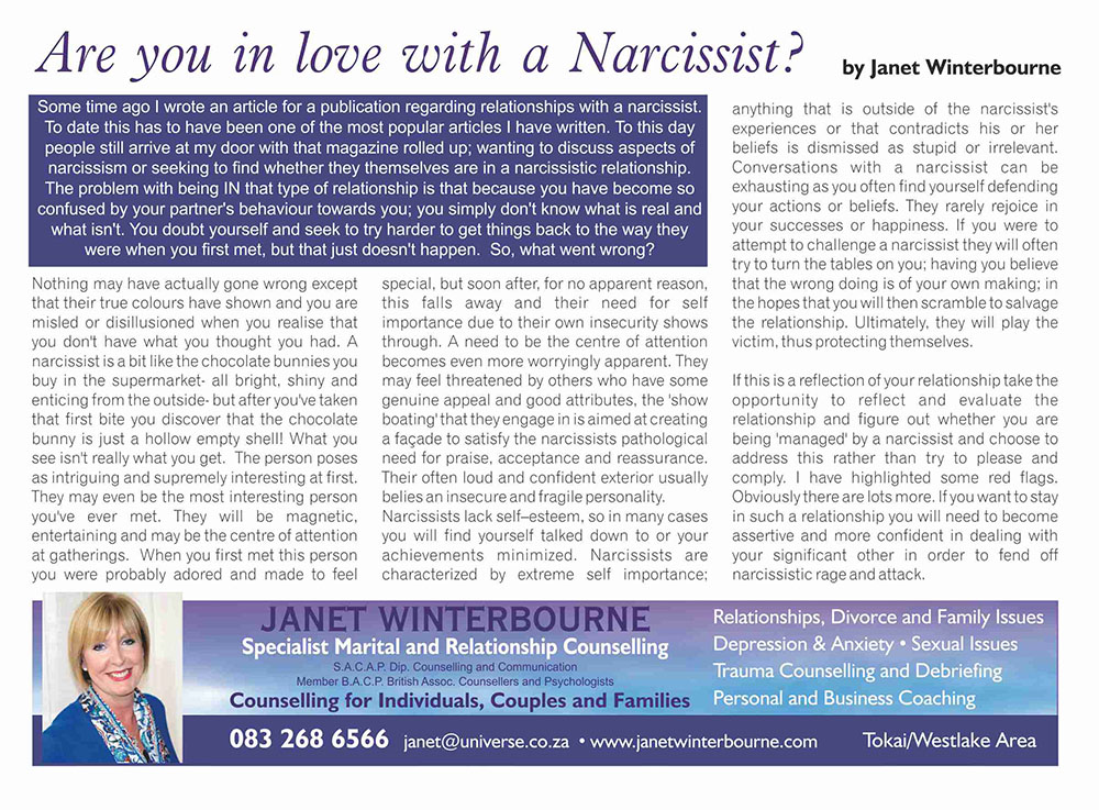Are you in love with a Narcissist? | Psychologist Cape Town