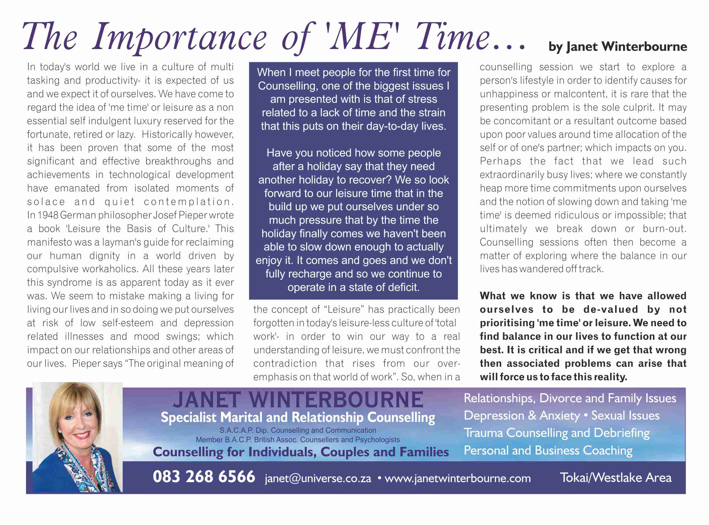 The Importance of 'me' time | Psychologist Cape Town
