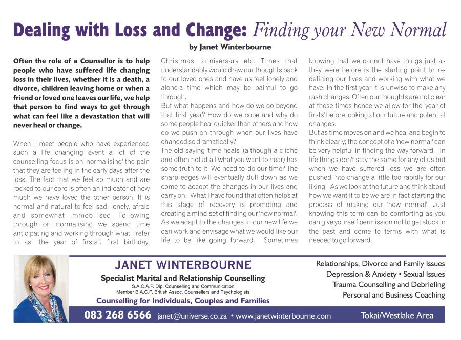 Dealing with Loss and Changes: Finding your New Normal | Psychologist Cape Town