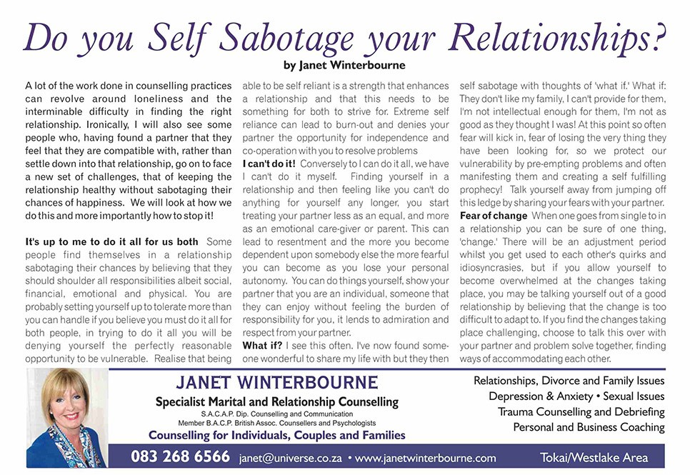 Do you self-sabotage your relationships | Psychologist Cape Town