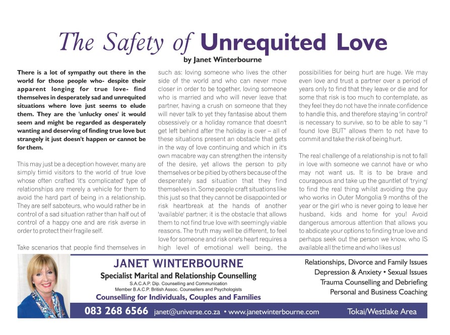 The Safety Of Unrequited Love | Psychologist Cape Town