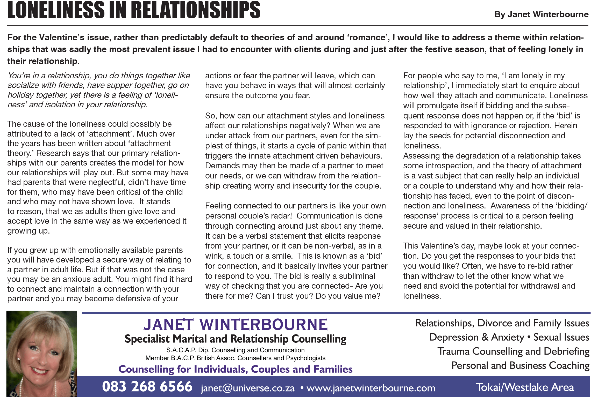 Loneliness in relationships | Psychologist Cape Town