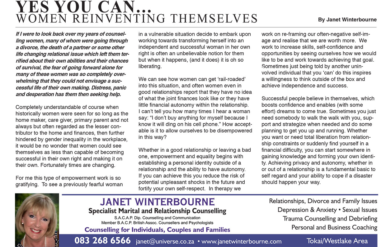 Women Reinventing Themselves…  | Psychologist Cape Town