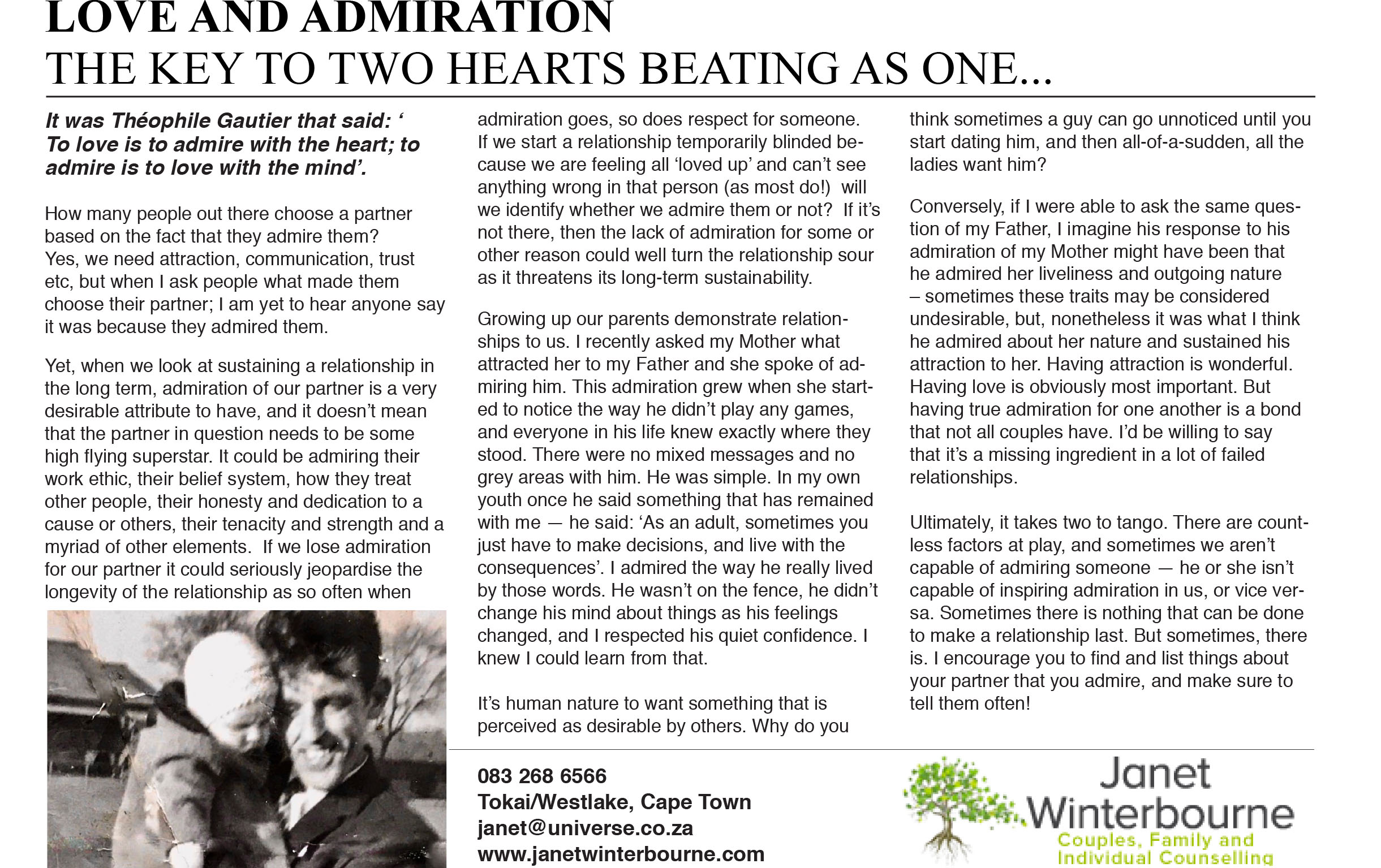 LOVE AND ADMIRATION – THE KEY TO TWO HEARTS BEATING AS ONE  | Psychologist Cape Town